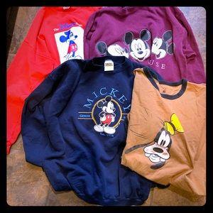 Tops - 3 XL Mickey Mouse sweat shirts.  XXL Goofey shirt
